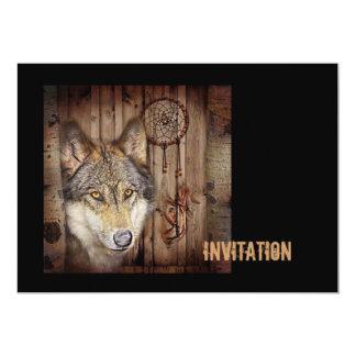 rustic native indian dream catcher wolf art card