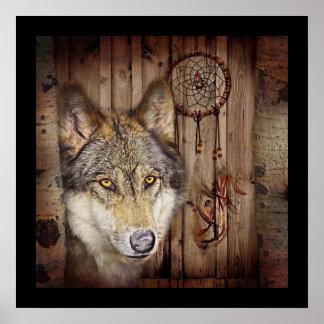 rustic native indian dream catcher wolf art poster