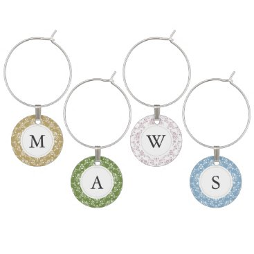 Beach Themed Rustic Natural Beach Themed Monogrammed Damask Wine Glass Charm
