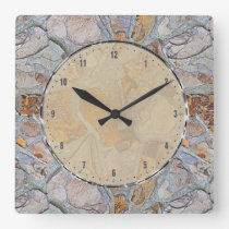 Rustic Natural Stone Pattern Print Square Wall Clock