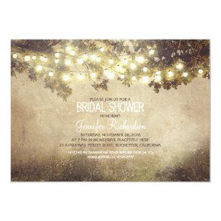 rustic nature tree branch lights bridal shower 5x7 paper invitation card