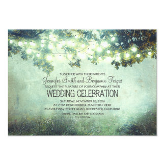 rustic nature tree branches lights wedding 5x7 paper invitation card