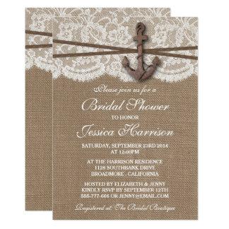 Rustic Nautical Anchor Beach Bridal Shower Card
