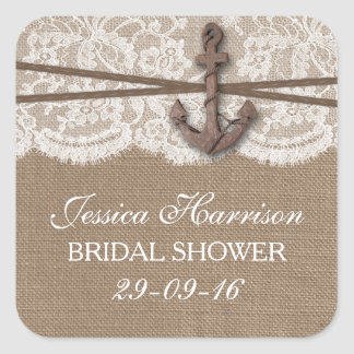 Rustic Nautical Anchor Beach Bridal Shower Square Sticker