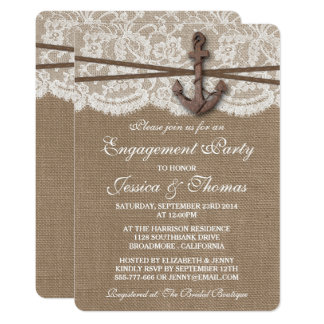Rustic Nautical Anchor Beach Engagement Party Card