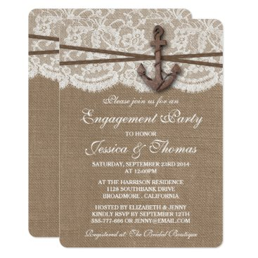 Invitation_Republic Rustic Nautical Anchor Beach Engagement Party Card
