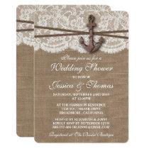 Rustic Nautical Anchor Beach Wedding Shower Invitation