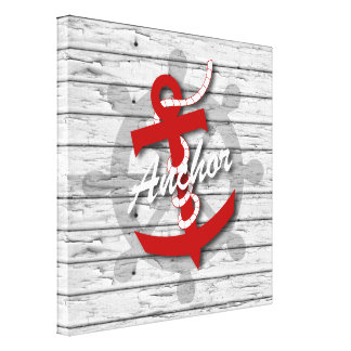 Rustic Nautical Anchor On Weathered Gray Wood Canvas Print