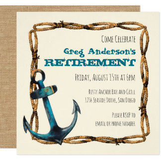 Rustic Nautical Anchor Retirement Card