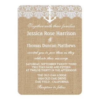 Rustic Nautical Anchor Wedding Invitations Card