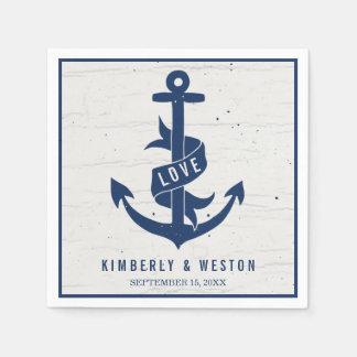 Rustic Nautical Anchor Wedding Napkins / Navy