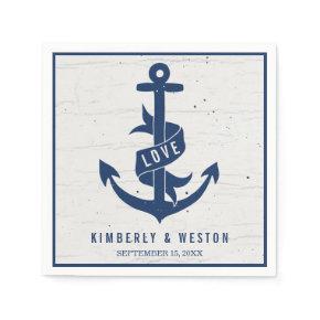 Rustic Nautical Anchor Wedding Napkins / Navy Standard Cocktail Napkin