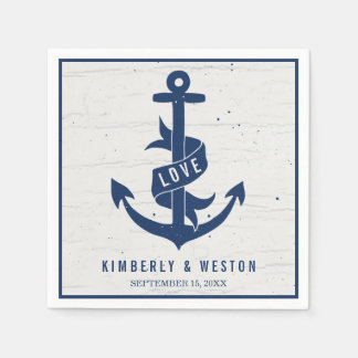 Rustic Nautical Anchor Wedding Napkins / Navy Standard Cocktail Napkin