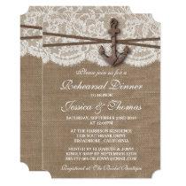 Rustic Nautical Anchor Wedding Rehearsal Dinner Invitation