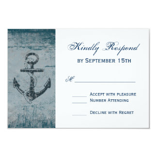 Rustic Nautical Anchor Wedding RSVP Cards