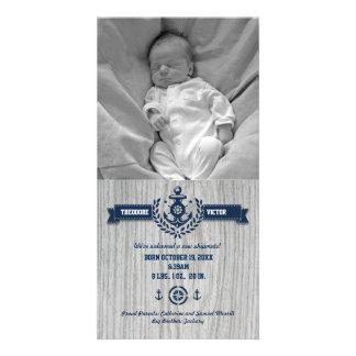 Rustic Nautical Baby Birth Photo Card