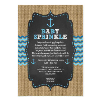 Rustic Nautical baby sprinkle for boy baby shower Card