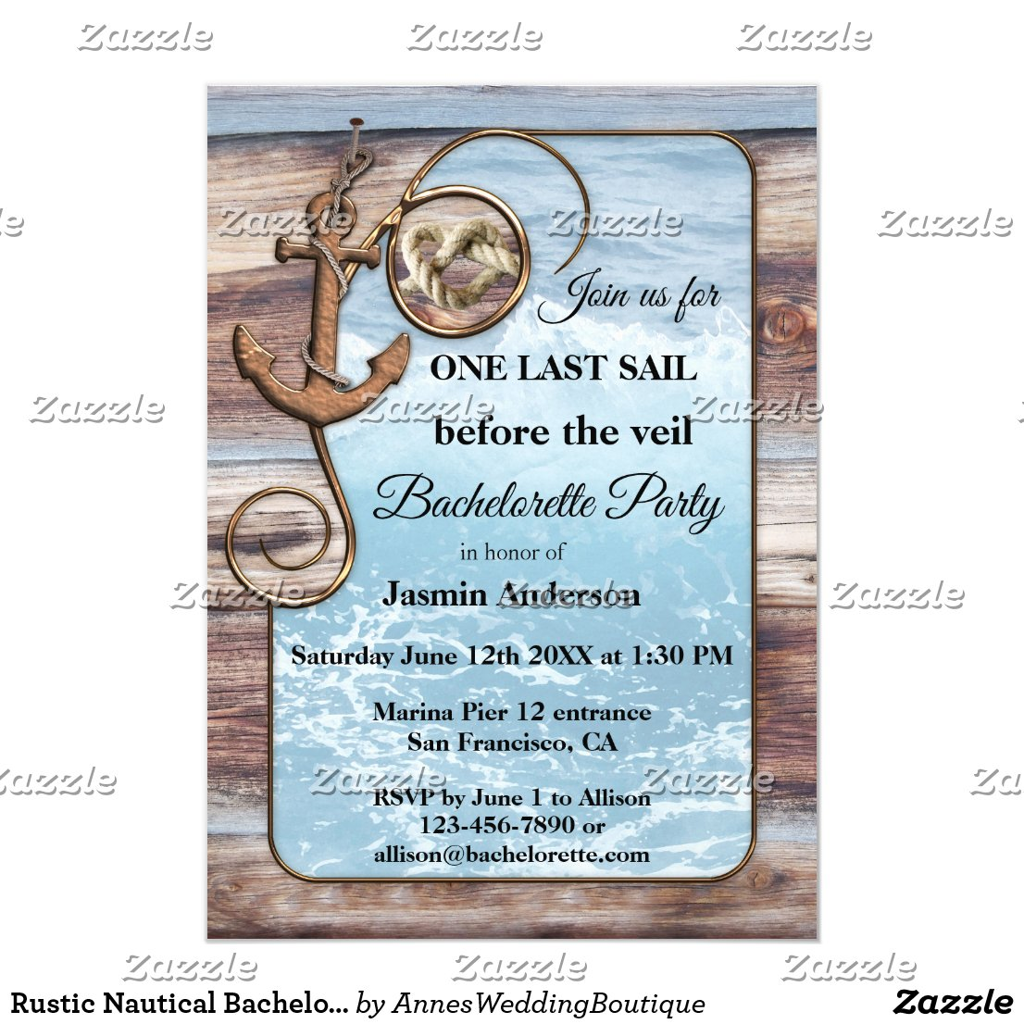 Rustic Nautical Bachelorette Sailing Invitation