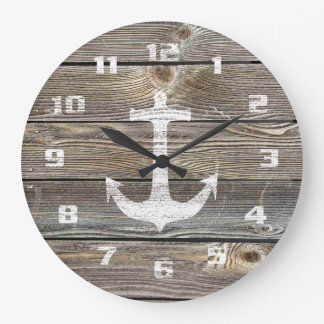 Rustic Nautical Beautiful authentic looking Wood Large Clock