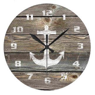 Rustic Nautical Beautiful authentic looking Wood Large Clock
