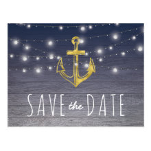 Rustic Nautical Blue Gold Party Save the Date