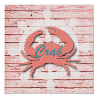 Rustic Nautical Crab On Peeling Wood | Print