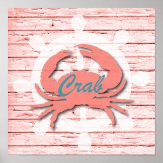 Rustic Nautical Crab On Peeling Wood | Print