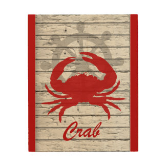 Rustic Nautical Crab On Peeling Wood | Print Wood Print