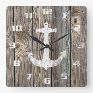 Rustic Nautical Design Anchor On Old Wood Square Wall Clock