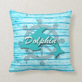 Rustic Nautical Dolphin On Beach Wood Throw Pillow