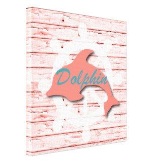 Rustic Nautical Dolphin On Peeling Wood | Print