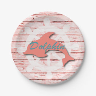 Rustic Nautical Dolphin On Peeling Wood | Print 7 Inch Paper Plate