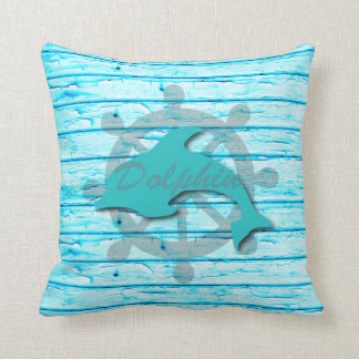Rustic Nautical Dolphin On Weathered Teal Wood Throw Pillow