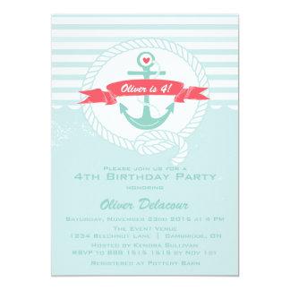 Rustic Nautical Kids Birthday Party Invitation