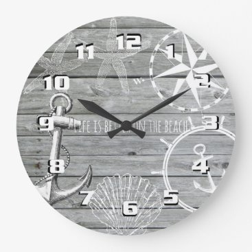 Beach Themed Rustic Nautical Life is Better on the Beach Large Clock