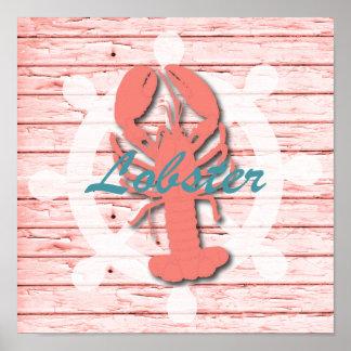 Rustic Nautical Lobster On Peeling Wood | Print