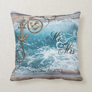 Rustic Nautical Ocean Wedding Pillow