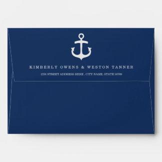 Rustic Nautical Pre-Addressed Envelope / Navy