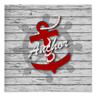 Rustic Nautical Red Anchor On Gray Peeling Wood Poster