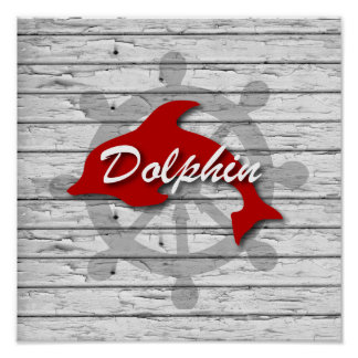 Rustic Nautical Red Dolphine On Gray Peeling Wood Poster