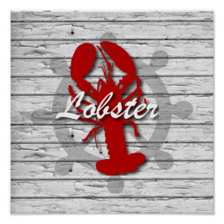 Rustic Nautical Red Lobster On Gray Peeling Wood Poster