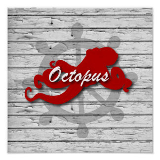 Rustic Nautical Red Octopus On Gray Peeling Wood Poster