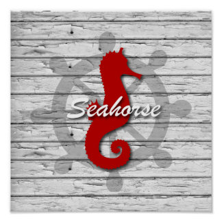 Rustic Nautical Red Seahorse On Gray Peeling Wood Poster