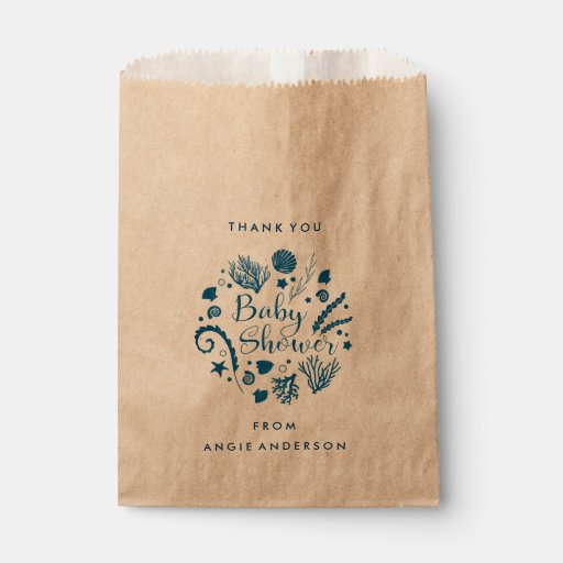 Rustic Nautical Sea Life Baby Shower Favor Bag
