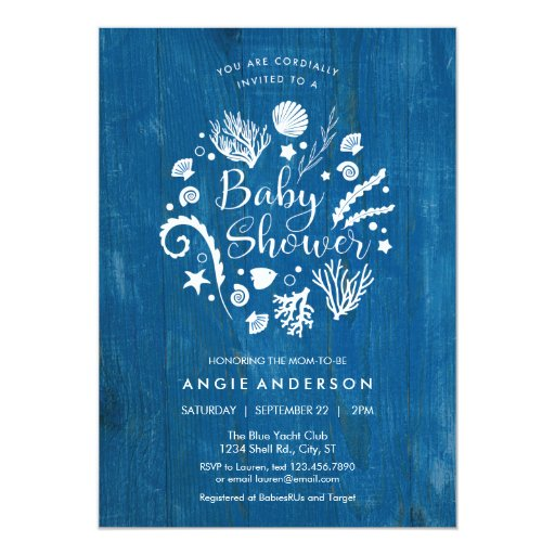 Rustic Nautical Sea Life Baby Shower Invitation