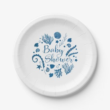 Beach Themed Rustic Nautical Sea Life Baby Shower Invitation Paper Plate