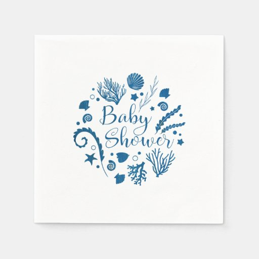 Rustic Nautical Sea Life Baby Shower Napkin
