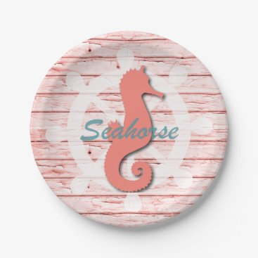 Beach Themed Rustic Nautical Seahorse On Peeling Wood | Print Paper Plate