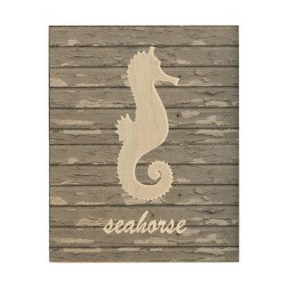 Rustic Nautical Seahorse On Peeling Wood | Print Wood Print