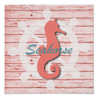 Rustic Nautical Seahorse On Weathered Wood | Print